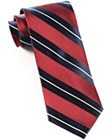 100% Silk Woven Burgundy and Navy Nifty Striped Tie
