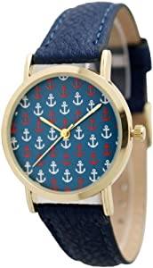 Women's Geneva Multi Anchor Design Gold Trim Leather Watch - Navy Multi