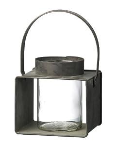 Hanging Metal Burham Lantern With Glass Candle Holder H125mm