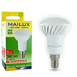 MAILUX R50 E14 LED Birne 5 Watt 380lm 110° 2700°K warmweiß 85x50mm 30.000h ersetzt: 40W neu OVP