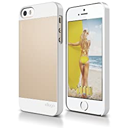 elago S5 Outfit Aluminum and Polycarbonate Dual Case for the iPhone 5/5S - eco friendly Retail Packaging (White / Gold)