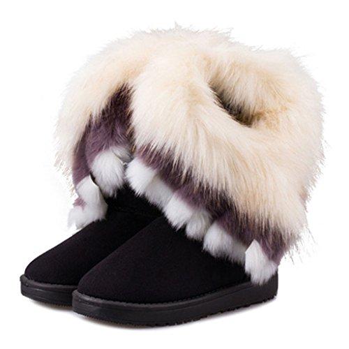 SGoodshoes Donna Slipper Stivaletti Warm Boot signore zeppa collo di pelliccia foderato inverno