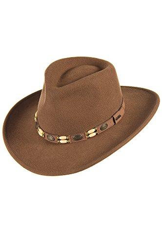"Crushable Outback Felt Tracker Hat, Pecan, Size Large (22.75"" - 23.25"")"