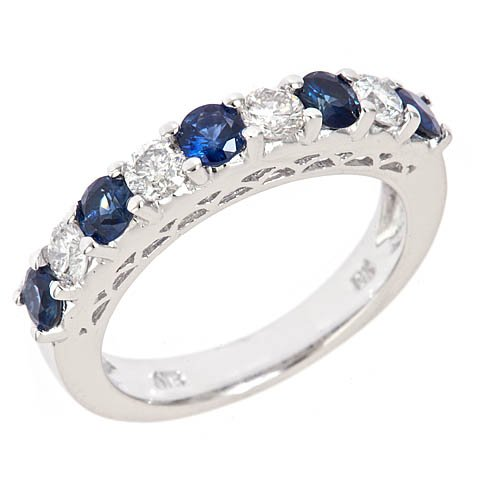 14k White Gold Diamond and Sapphire Wedding Anniversary Band Ring Antique Style (1.54 Cttw, S1 Clarity, G Color)