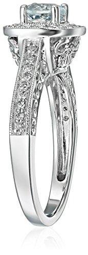 14k White Gold Aquamarine and Diamond Ring (1/4 cttw, H-I Color, I2-I3 Clarity), Size 8