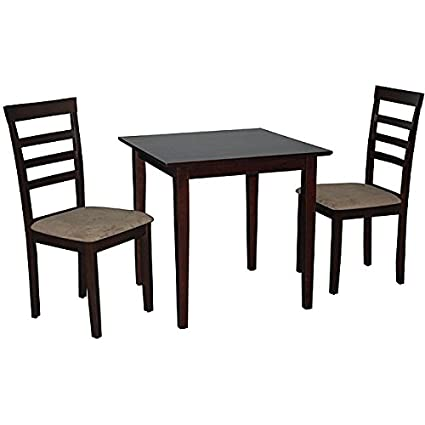 Simple Living Havana Brown/rich Espresso Finished 3- Piece Dining Set Constructed of Rubberwood with Chairs Upholstered in Neutral Fabric
