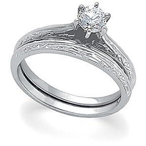 IceCarats Designer Jewelry Platinum Platinum 1/3 Ctw Diamond Round Solitaire Engagement Ring Size 6