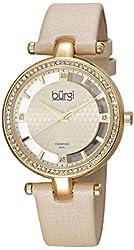 Burgi Women's BUR104YG  Round Yellow Gold and See Thru Dial Three Hand Quartz Movement Gold Tone Strap Watch