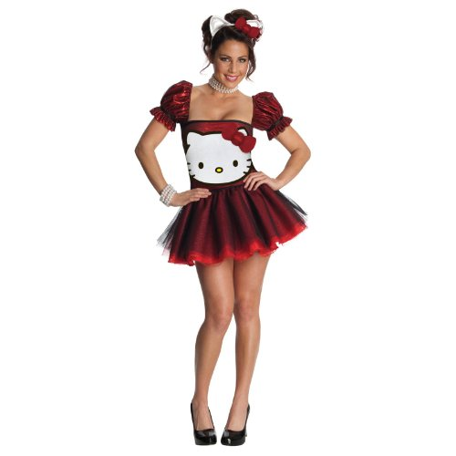 [Secret Wishes  Hello Kitty Adult Costume Dress, Red, X-Small] (Hello Kitty Ears)