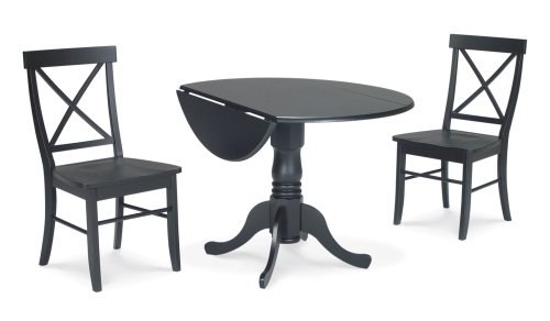 Buy Low Price International Concepts 3-Piece Set – 42″ Dual Drop Leaf Table with 2 X-Back Chairs in Black – K46-42DP-C613-2 (K46-42DP-C613-2)