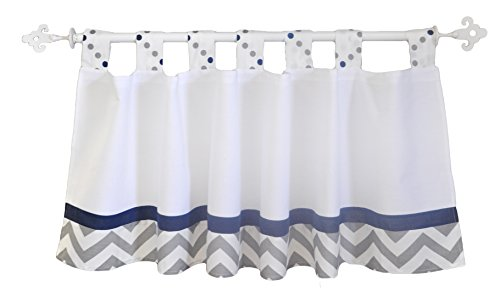 My Baby Sam Out of The Blue Curtain Valance, Navy/Gray