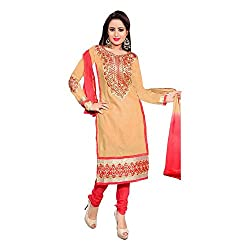 Vardhman Synthetics Women's Embroidered Unstitched Dress Material (Khaki_Free Size)