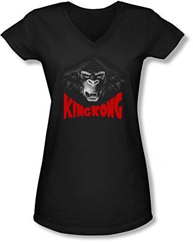 King Kong-Face-Maglietta a maniche corte con collo a V, da ragazzo, Kong nero XX-Large