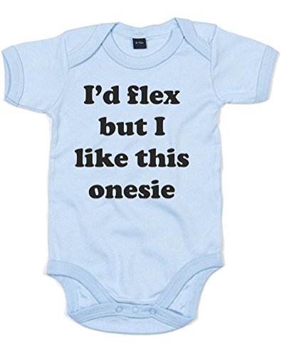 I'D Flex But I Like This Onesie!, Printed Baby Grow - Dusty Blue/Black 0-3 Months front-270067
