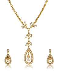 Estelle Gold Plated Necklace Set With Crystals And Pearl (7261) - B00SMIMIDY