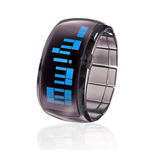 Soleasy New Bracelet Design Future Blue Led Wrist Watch - Black Wth0458