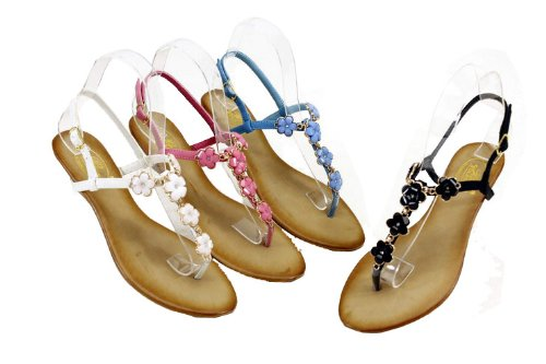 BOLARO DF5037 Women's beach sandal thong on padded low wedge bottom with micro fabric upper and plum blossom gems pattern and adjustable heel strap