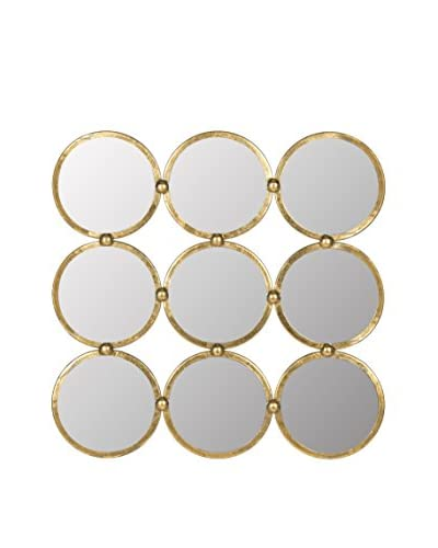 Safavieh Circles In The Square Mirror, Antique Gold