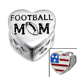 Cheneya Football Mom Sterling Silver Heart Bead with Red White and Blue American Flag