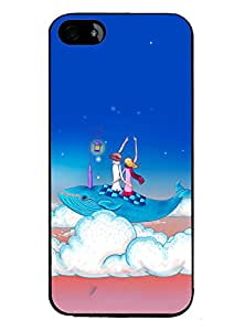 PRINTVISA Enjoying cuple moon night Premium Metallic Insert Back Case Cover for Apple Iphone 4 / 4G / 4S - D5922