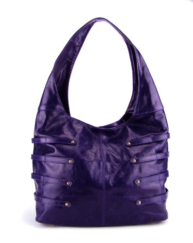 POPCORN MILANO Italian Purple Leather Handbag Hobo Shoulder Bag