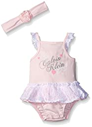 Calvin Klein Baby Girls\' Interlock Lace Accent Sunsuit with Headband, Pink, 6-9 Months
