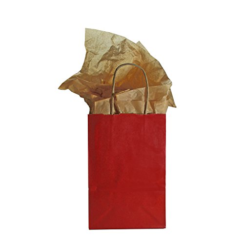 Red Tinted Kraft Bags With Tissue Paper And Tags, Set Of 12, 8.5 X 5.5 Inches, Small front-247983