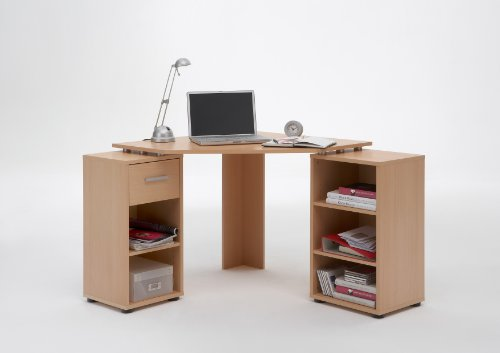 BEECH Colour Wood Corner Computer / PC Work Station Table Desk with 5 Compartments and Drawer by DMF