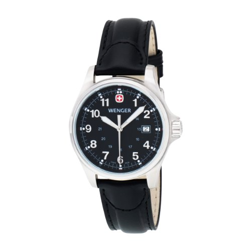 Wenger Mens 72785 TerraGraph Black Dial Black Leather Strap Watch