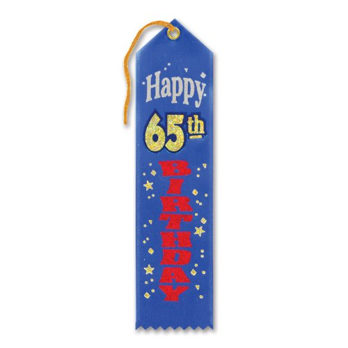 "Happy 65th Birthday Award Ribbon 2"" x 8"" Party Accessory - 1"