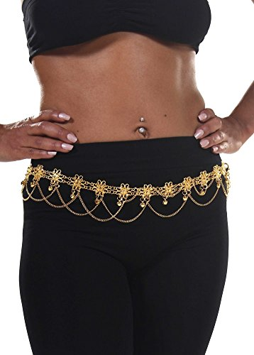Belly Dance Star Belt with Chains | Flower Bells