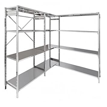 Shelf stainless steel shelves 160X30X200H cm modular with hooks Office Forniture