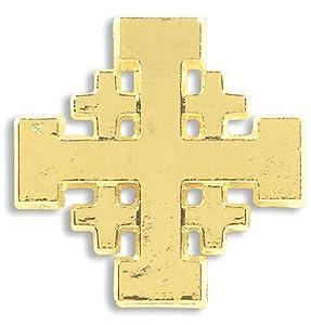 "Religious Christian Mens Womens Gift 3/4"" Gold Tone Jerusalem Crusaders Cross Lapel Pin Fashion Accessory"