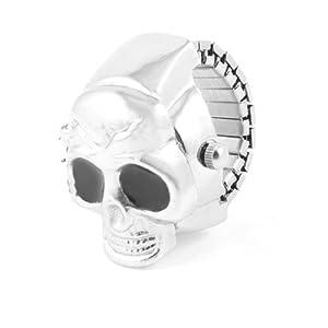 Como Black Eyes Silver Tone Metal Skull Designed Finger Ring Watch US 4 3/4