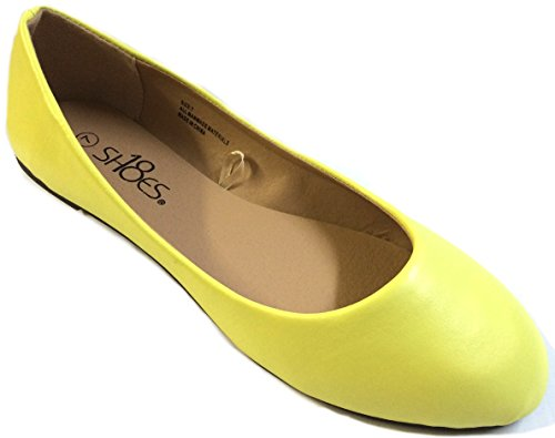 Shoes 18 Womens Ballerina Ballet Flat Shoes Solids & Leopards (6, Yellow PU 8600)