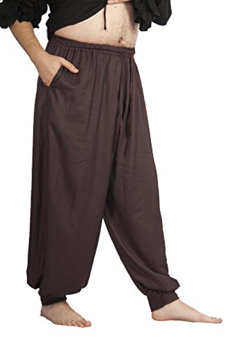 Dress Like A Pirate Ren Fair LARP Pants Elastic/Drawstring Waist Button Cuffs (S/M, DARK BROWN) (Renaissance Pants Men compare prices)