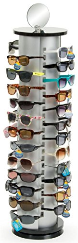 Displays2go Sunglasses Display Rack, Holds 48 Pairs Comes with Double Sided Mirror, Black/Silver Aluminum (Spinning Countertop Display compare prices)