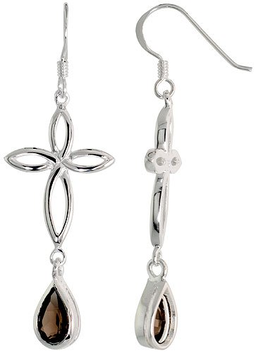 Sterling Silver Celtic Knot Cross Tear Drop Earrings w/ Natural Smoky Topaz, 2 inch (50 mm) long