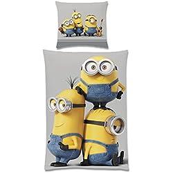 Cattivissimo Me Minions - Biancheria da letto double face, 135 x 200 cm, 100% per cento cotone renforcé FRIENDS 80 x 80 cm con bottoni