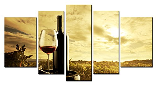 SmartWallArt - Wine Paintings Wall Art Oak Casks and Red Wine in the Vineyard Background 5 Panels Picture Print on Canvas for Modern Home Decoration (Wine Country Art compare prices)