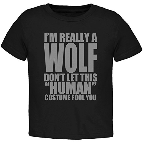 Halloween Human Wolf Costume Black Toddler T-Shirt