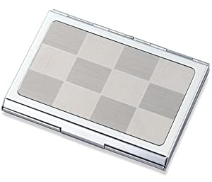 Silver Checkered Pattern Chrome Plated Metal Money and Business Card Case