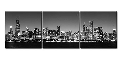 Canvas Print Wall Art Painting For Home Decor Black & White Chicago Skyline Night B&W Bw And Modern Architecture Buildings Business Cityscape Coastline 3 Pieces Panel Paintings Modern Giclee Stretched And Framed Artwork The Picture For Living Room Decoration City Pictures Photo Prints On Canvas (Chicago Skyline Framed Picture compare prices)