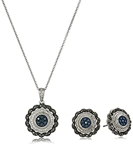 Sterling Silver and Black, Blue, and White Diamond Boxed Jewelry Set