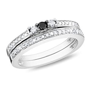 Sterling Silver White and Black Accent Diamond Wedding Ring Set (0.25 Cttw, H-I Color, I3 Clarity)