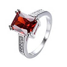 buy Jacob Alex Ring Ring Size 8 Rectangle Red Zircon Women'S 10Kt White Gold Filled Wedding