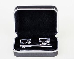 Lodestar Galaxy Gems boutons de manchette classiques et pince à cravate élégante, ensemble en boîte-cadeau: Sand Dunes Gems DE (ACV-02)