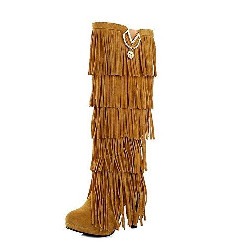 AgooLar Donna Chiodato Pelle Di Mucca Tacco Alto Tirare Punta Tonda Stivali con Frange, Giallo, 40