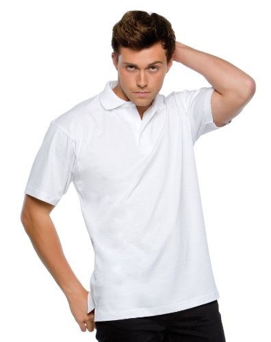 Mens 100% Cotton Rich Polo T Shirts Sizes XS to 4XL (XS - EXTRA SMALL, WHITE)