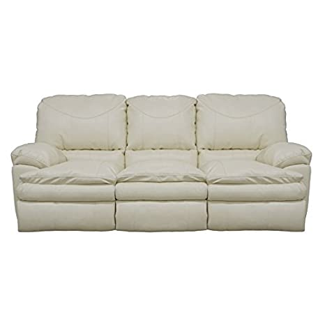 Catnapper Perez Reclining Leather Sofa in Ice